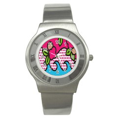 Rose Floral Circle Line Polka Dot Leaf Pink Blue Green Stainless Steel Watch by Mariart