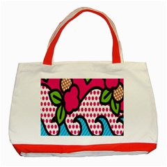 Rose Floral Circle Line Polka Dot Leaf Pink Blue Green Classic Tote Bag (red) by Mariart