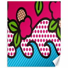 Rose Floral Circle Line Polka Dot Leaf Pink Blue Green Canvas 11  X 14   by Mariart