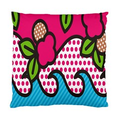 Rose Floral Circle Line Polka Dot Leaf Pink Blue Green Standard Cushion Case (two Sides) by Mariart