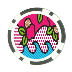 Rose Floral Circle Line Polka Dot Leaf Pink Blue Green Poker Chip Card Guard (10 Pack) by Mariart