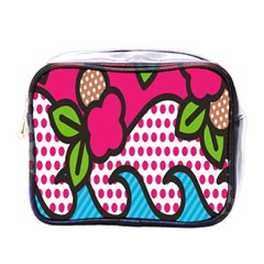 Rose Floral Circle Line Polka Dot Leaf Pink Blue Green Mini Toiletries Bags by Mariart