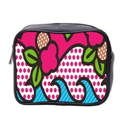 Rose Floral Circle Line Polka Dot Leaf Pink Blue Green Mini Toiletries Bag 2 Side by Mariart