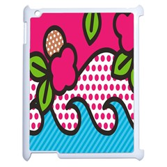 Rose Floral Circle Line Polka Dot Leaf Pink Blue Green Apple Ipad 2 Case (white) by Mariart