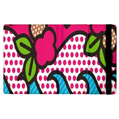 Rose Floral Circle Line Polka Dot Leaf Pink Blue Green Apple Ipad 3/4 Flip Case by Mariart