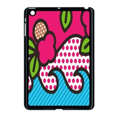 Rose Floral Circle Line Polka Dot Leaf Pink Blue Green Apple Ipad Mini Case (black) by Mariart
