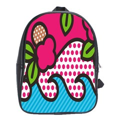 Rose Floral Circle Line Polka Dot Leaf Pink Blue Green School Bags (xl)  by Mariart