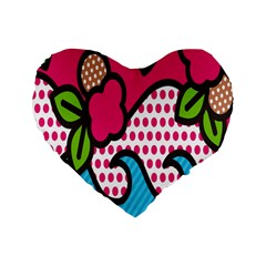 Rose Floral Circle Line Polka Dot Leaf Pink Blue Green Standard 16  Premium Flano Heart Shape Cushions by Mariart