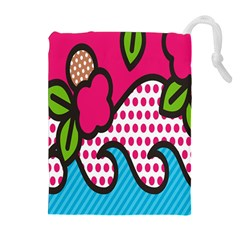 Rose Floral Circle Line Polka Dot Leaf Pink Blue Green Drawstring Pouches (extra Large) by Mariart
