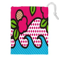 Rose Floral Circle Line Polka Dot Leaf Pink Blue Green Drawstring Pouches (xxl)