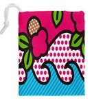 Rose Floral Circle Line Polka Dot Leaf Pink Blue Green Drawstring Pouches (XXL) Back