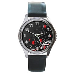 Star Red Flower Floral Black Leaf Polka Circle Round Metal Watch by Mariart