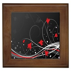 Star Red Flower Floral Black Leaf Polka Circle Framed Tiles by Mariart