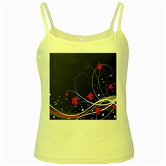 Star Red Flower Floral Black Leaf Polka Circle Yellow Spaghetti Tank by Mariart