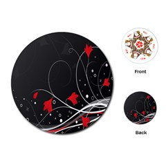 Star Red Flower Floral Black Leaf Polka Circle Playing Cards (round)  by Mariart