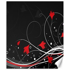 Star Red Flower Floral Black Leaf Polka Circle Canvas 20  X 24   by Mariart