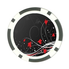 Star Red Flower Floral Black Leaf Polka Circle Poker Chip Card Guard by Mariart