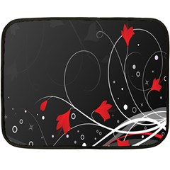 Star Red Flower Floral Black Leaf Polka Circle Fleece Blanket (mini) by Mariart