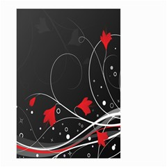 Star Red Flower Floral Black Leaf Polka Circle Small Garden Flag (two Sides) by Mariart