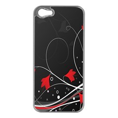 Star Red Flower Floral Black Leaf Polka Circle Apple Iphone 5 Case (silver) by Mariart