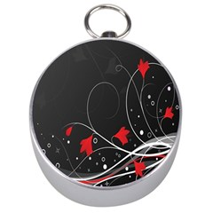 Star Red Flower Floral Black Leaf Polka Circle Silver Compasses by Mariart