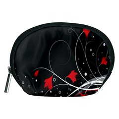Star Red Flower Floral Black Leaf Polka Circle Accessory Pouches (medium)