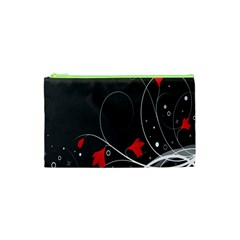 Star Red Flower Floral Black Leaf Polka Circle Cosmetic Bag (xs) by Mariart