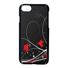 Star Red Flower Floral Black Leaf Polka Circle Apple Iphone 7 Seamless Case (black) by Mariart