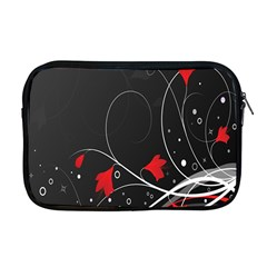 Star Red Flower Floral Black Leaf Polka Circle Apple Macbook Pro 17  Zipper Case by Mariart