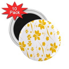 Shamrock Yellow Star Flower Floral Star 2 25  Magnets (10 Pack)