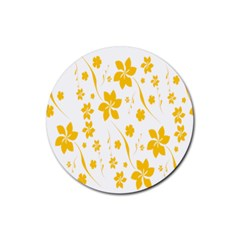 Shamrock Yellow Star Flower Floral Star Rubber Round Coaster (4 Pack)  by Mariart