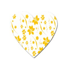 Shamrock Yellow Star Flower Floral Star Heart Magnet by Mariart