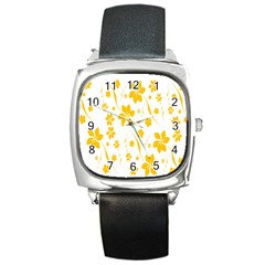 Shamrock Yellow Star Flower Floral Star Square Metal Watch by Mariart