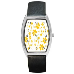 Shamrock Yellow Star Flower Floral Star Barrel Style Metal Watch by Mariart