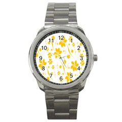 Shamrock Yellow Star Flower Floral Star Sport Metal Watch by Mariart