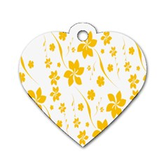 Shamrock Yellow Star Flower Floral Star Dog Tag Heart (one Side) by Mariart