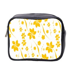 Shamrock Yellow Star Flower Floral Star Mini Toiletries Bag 2 Side by Mariart