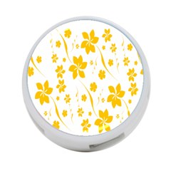 Shamrock Yellow Star Flower Floral Star 4 Port Usb Hub (two Sides)  by Mariart