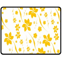 Shamrock Yellow Star Flower Floral Star Fleece Blanket (medium)  by Mariart