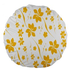 Shamrock Yellow Star Flower Floral Star Large 18  Premium Round Cushions by Mariart