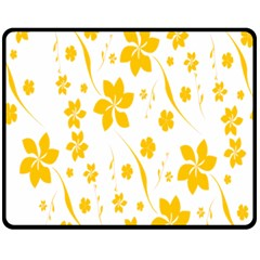 Shamrock Yellow Star Flower Floral Star Double Sided Fleece Blanket (medium)  by Mariart