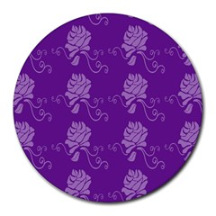 Purple Flower Rose Sunflower Round Mousepads by Mariart