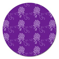 Purple Flower Rose Sunflower Magnet 5  (round) by Mariart
