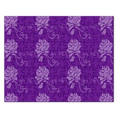 Purple Flower Rose Sunflower Rectangular Jigsaw Puzzl by Mariart
