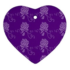 Purple Flower Rose Sunflower Heart Ornament (two Sides) by Mariart