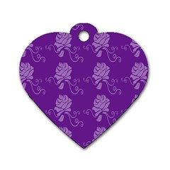 Purple Flower Rose Sunflower Dog Tag Heart (one Side) by Mariart