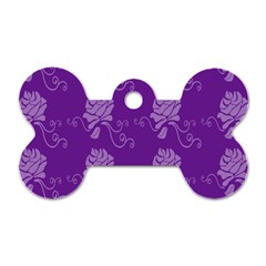 Purple Flower Rose Sunflower Dog Tag Bone (one Side) by Mariart