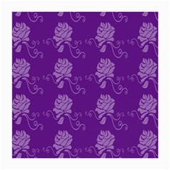 Purple Flower Rose Sunflower Medium Glasses Cloth (2 Side) by Mariart