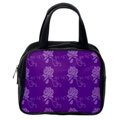 Purple Flower Rose Sunflower Classic Handbags (one Side) by Mariart