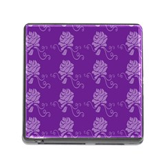 Purple Flower Rose Sunflower Memory Card Reader (square) by Mariart